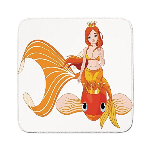 - Cozy Seat Protector Pads Cushion Area Rug,Mermaid Decor,Pretty Princess Mermaid Riding on a Golden Fish Swimming Animals Happy,Easy to Use on Any Surface