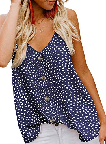 (BLENCOT Women's Casual Sleeveless Tops Button Down Polka Dot V Neck Loose Flowy Tank Tops Shirts and Blouses Blue M)
