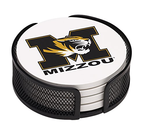 Thirstystone VUMO-HA17 Stoneware Drink Coaster Set with Holder, University of Missouri