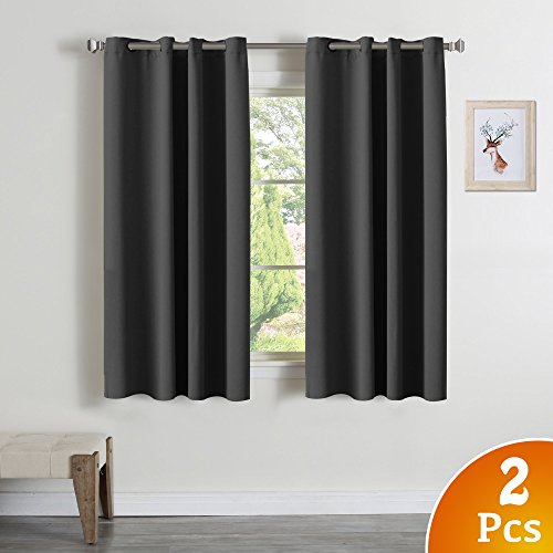 Blackout Curtain Panels - Window Treatment Thermal Insulated Solid Grey Curtains Grommet Drapes for Bedroom / Living Room (2 Panels, 52 by 63 Inch, Charcoal Gray)