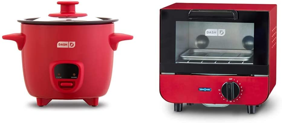 Dash DRCM200GBRD04 Mini Rice Cooker Steamer with Removable Nonstick Pot, Keep Warm Function & Recipe Guide, Red & DMTO100GBRD04 Mini Toaster Oven Cooker, Red