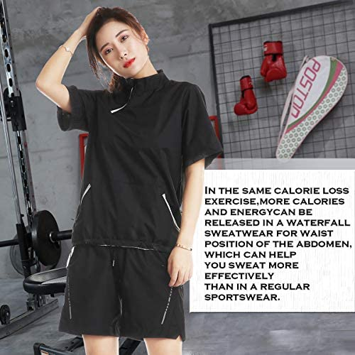 Sauna Sweat Suits for Women Short Sleeve Tops and Short Pants Workout Suits Indoor Outdoor Sportswear Running Workout Suits