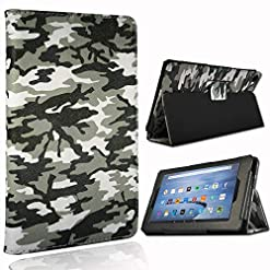 FINDING CASE Folio Leather Smart Folding Stand Cover Case for Amazon Fire HD 8 Alexa Tablet (8th / 7th / 6th Generation – 2018, 2017 and 2016 Release) 8-inch tablet (Camouflage)