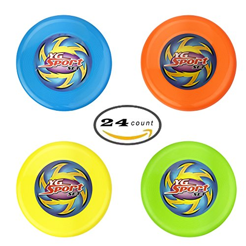 Plastic Flying Disc ([Value Bundle] 24 Pcs Outdoor Flying Sports Discs, Plastic Frisbee Toss Game Toy for Kids and Adults (4 Colors))