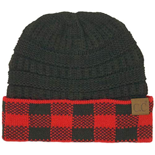 CC Winter Fall Trendy Chunky Stretchy Cable Knit Beanie Hat (Buffalo Plaid Red/Black)