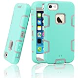 iPhone 5S Case, iPhone SE Case, EC™ 3in1 Shock Absorbing Case, Rubber Combo Hybrid Impact Silicone Armor Hard Case Cover for Apple iPhone 5S/5/ iPhone SE 2016 (C-Gray/Emerald)