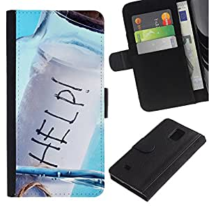 Ihec-Tech / Flip PU Cuero Cover Case para Samsung Galaxy Note 4 SM-N910 - Help Message In A Bottle