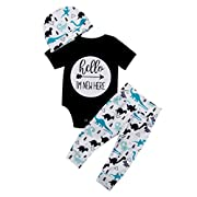 Infant Baby Girl Basic Ruffle Short Sleeve Cotton Romper Bodysuit Tops Clothes ,Black+white,0 - 3 Months