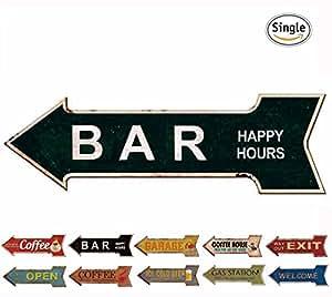 Hantajanss bar signs retro arrow embossed for Bar decor amazon