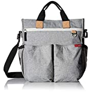 Messenger Diaper Bag with Matching Changing Pad, Duo Signature, Grey Melange