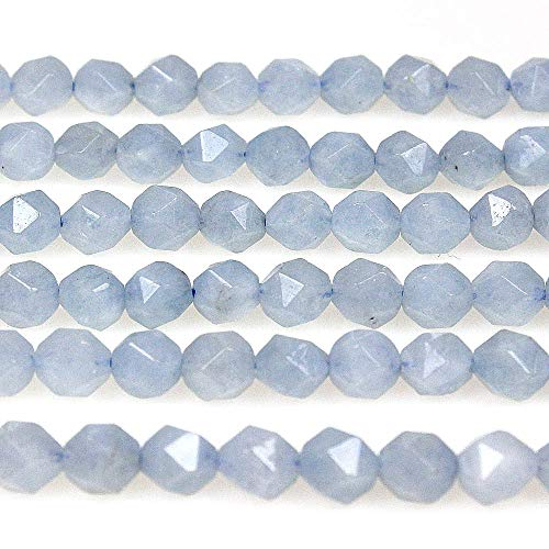 MJDCB Best Sellers Natural Stone Beads Faceted Polygon Aquamarine Crystal Energy Stone Healing Power for Jewelry Making(8mm)