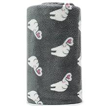 Cute Dreaming Elephant Pattern Grey Background Soft Lightweight Coral Fleece 230GSM Blanket Throw 50 X 60