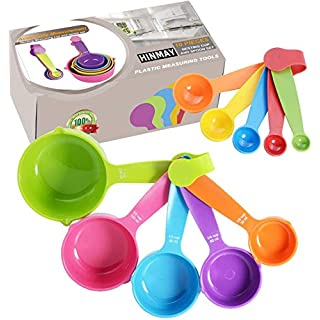 HINMAY Plastic Measuring Cups and Measuring Spoons 10-Piece Set, 5 Cups and 5 Spoons