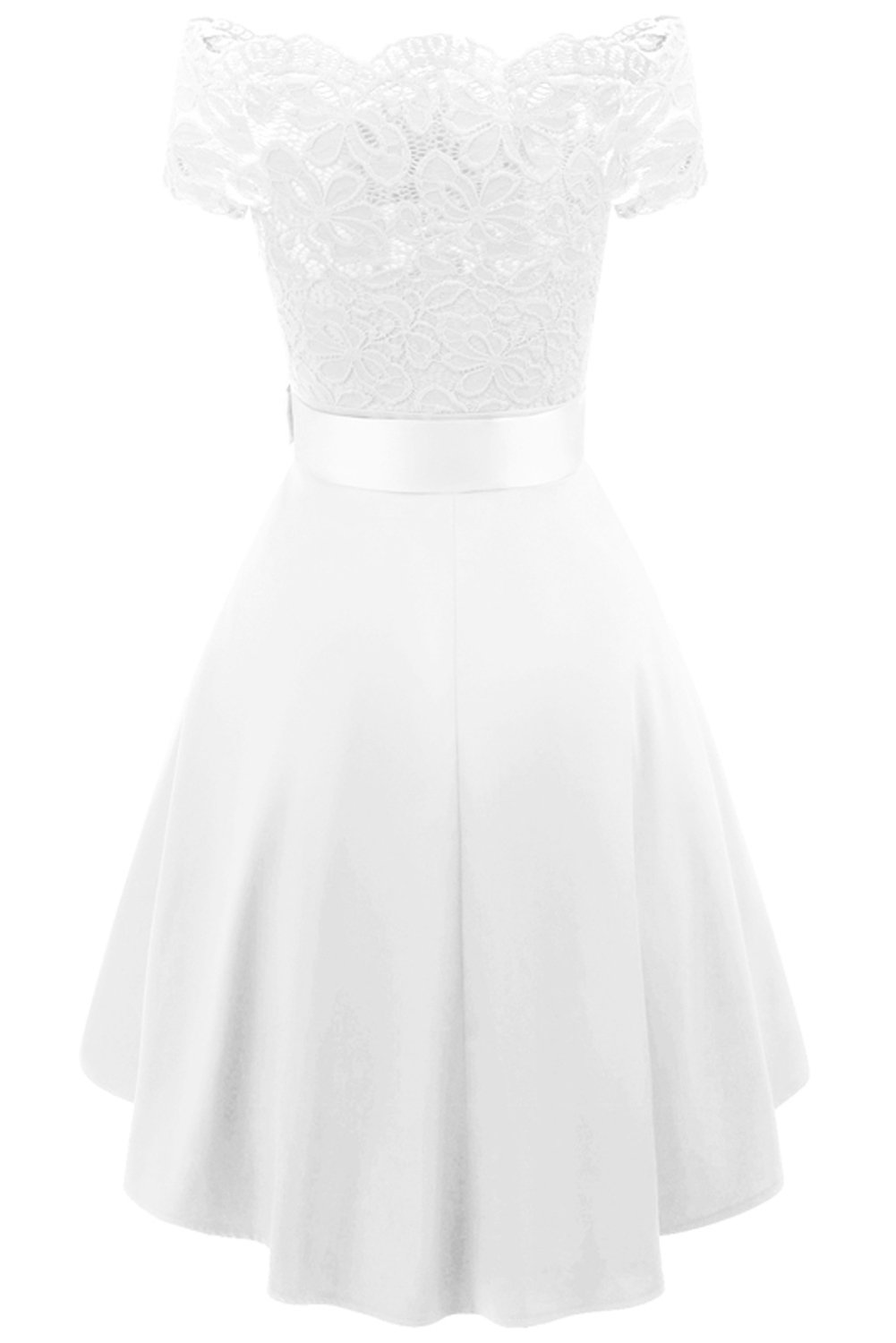MILANO BRIDE Women's Vintage Floral Lace Short Sleeves Boat Neck Cocktail Formal Swing Dress-L-White by MILANO BRIDE (Image #2)