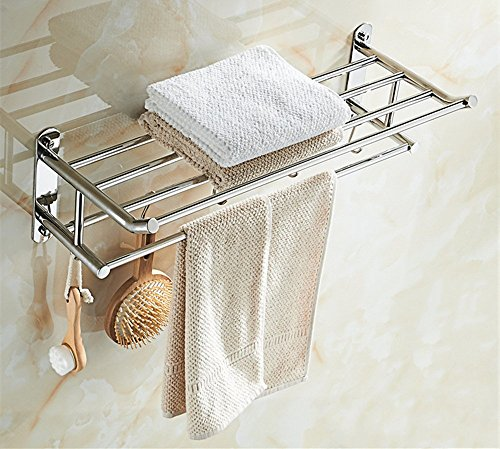 HOMEE Bathroom Bathroom Double Shelf Free Punching Stainless Steel Towel Rack by HOMEE