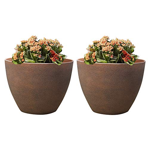 "Flower Pot Terracotta Planters - Indoor Outdoor Garden Plant Container 12"" Pack 2 with Drain Holes"