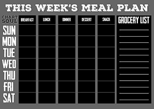 Chart and Soul Magnetic Meal Planning Calendar and Grocery List Chalkboard  Large 16quot x 12quot Erasable Decal for Home Kitchen Dorm and Office  Removable Weekly Prep Menu