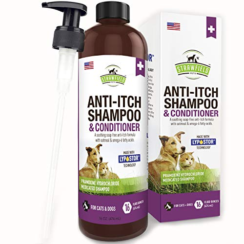 Dog Shampoo for Dry Itchy Skin - 16 oz - Medicated, Hypoallergenic Colloidal Oatmeal Dog Shampoo and Conditioner for Allergies and Itching, Sensitive Skin, Anti Itch Treatment, Allergy Relief, USA