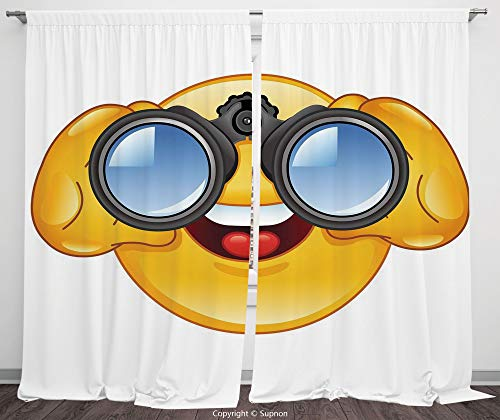 Binoculars Translucent - Rod Pocket Curtain Panel Polyester Translucent Curtains for Bedroom Living Room Dorm Kitchen Cafe/2 Curtain Panels/108 x 95 Inch/Emoji,Smiley Face with a Telescope Binoculars Glasses Watching Outside