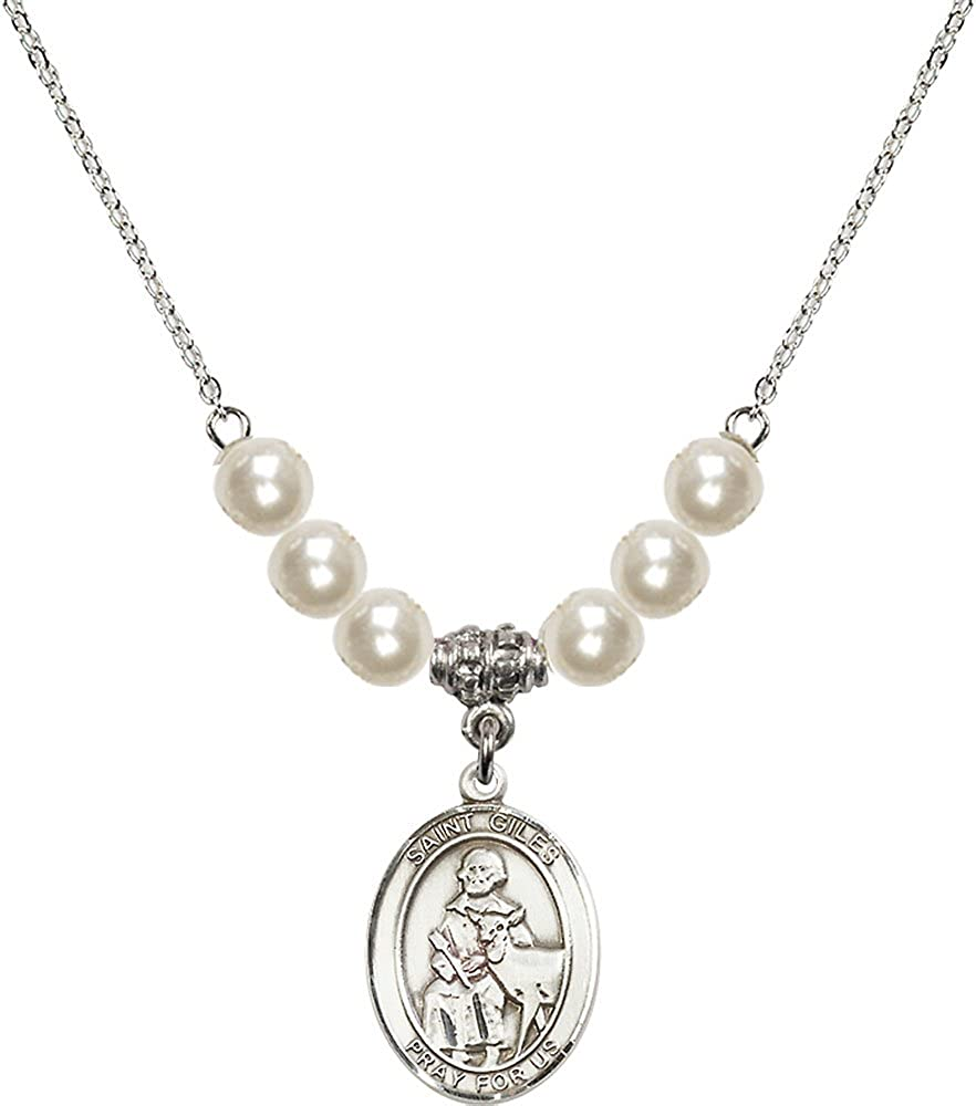 18-Inch Rhodium Plated Necklace with 6mm Faux-Pearl Beads and Sterling Silver Saint Giles Charm.