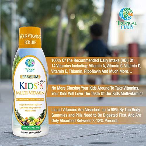 Premium Kids Liquid Multivitamin & Superfood -100% DV of 14 Vitamins for Kids. Multi-Vitamin for Children Ages 4+. Great Tasting, Non-GMO, No Sugar - Max Absorption - 16 oz, 32 Serv