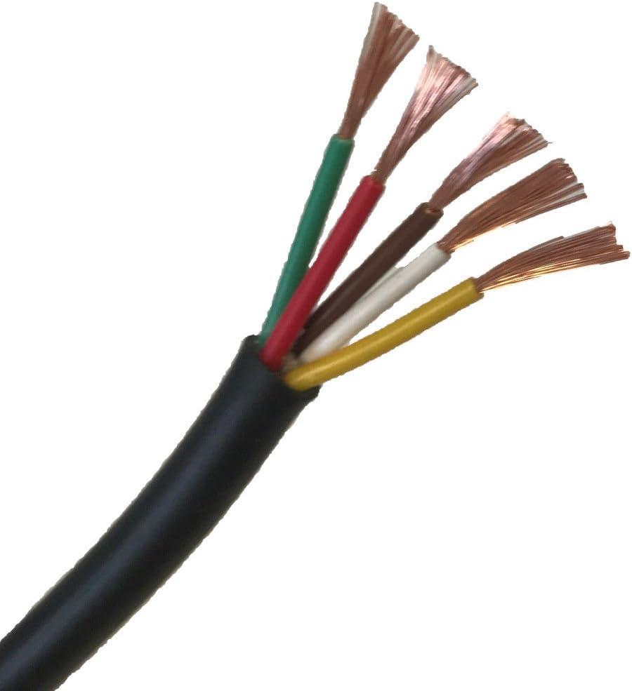 Cables planos y redondos rojo y negro, núcleos de pared fina de 2/3/4/5/7 para instalación de automotores de 12 V o 24 V de Wire4u