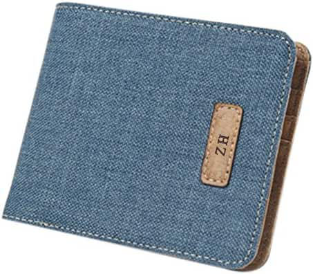 ZH Men's Canvas Leather Wallet Small Bifold Card Holder Billfold with ID Window