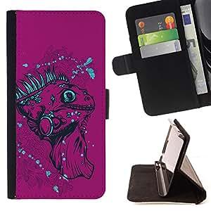 KingStore / Leather Etui en cuir / Apple Iphone 5C / La Iguana Purple - Lagarto
