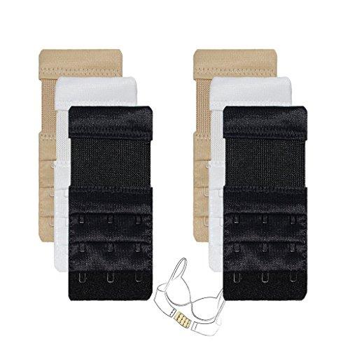Bra Elastic Extender for Women 6pcs-Pack 3 Rows 3 Hooks Stretch Pregnanct Adjustable Bra Extension Strap, 6pcs,elastic,3 X 3 Hooks,black/Nude/White, One (Extenders Bra Extender)