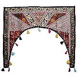 Indian Khambhadiya Gate Door Wall Hanging Cotton Home Decorative Patchwork Embroidered Window Valence Door Hanging Bandhanwar Toran (Black