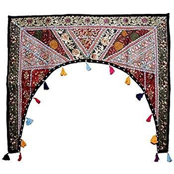 - Indian Khambhadiya Gate Door Wall Hanging Cotton Home Decorative Patchwork Embroidered Window Valence Door Hanging Bandhanwar Toran (Black