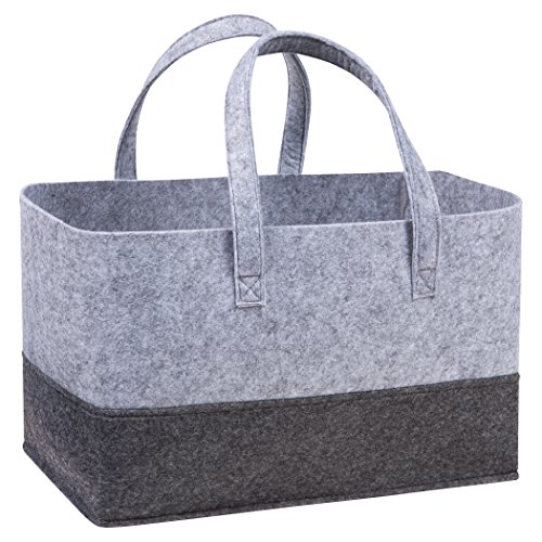 Sammy & Lou Felt Essential Storage Tote, Light and Dark Gray