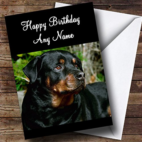 - Rottweiler Dog Personalized Birthday Greetings Card