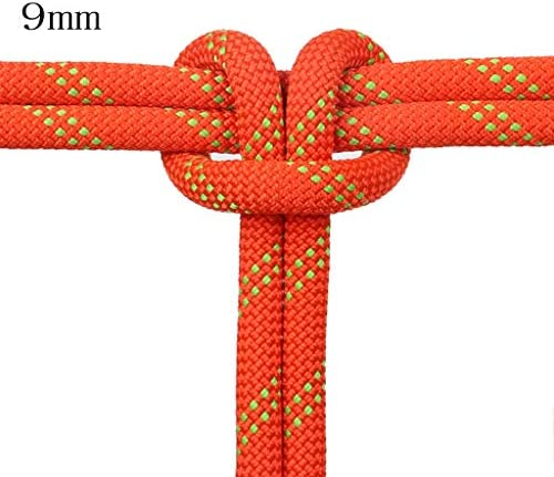 ZHWNGXO 9mmParachute Seil, geflochtenen Seil Geeignet for Bergsteigen/Camping/Wandern/Bootfahren/Angeln/Exploration Höhle/Engineering/Erweiterung Orange/Rot