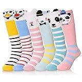 6 Pairs Unisex-Baby Socks Cute Animal Knee High Stockings (6 Pairs Cartoon, 0-12 months)