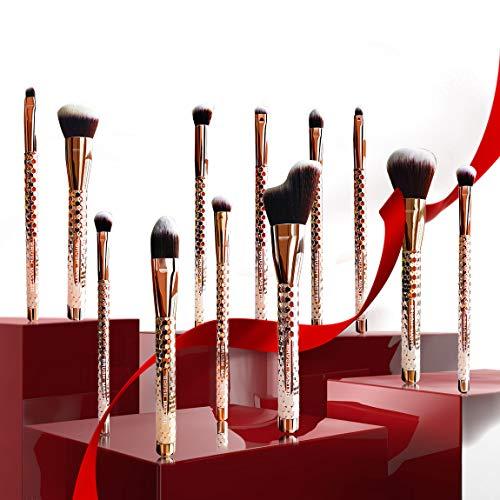 Brush Master Makeup Brushes Premium Synthetic Foundation Powder Concealers Eye Shadows Makeup Brush Sets, Rose Golden, 14 Pcs