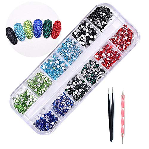 DAODER 3D Nail Art Rhinestones Flat back Nail Gems and Charms for Nails Decoration Crystal Nail Jewels Blue Green Black Red for Crafts DIY 1620pcs