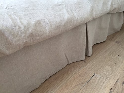 Tailored Linen Bed Skirt Pleated in Natural Linen or Grey Colors