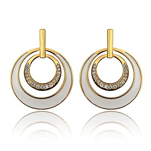 Western Style Earrings Platinum Diamond Earrings Round Stud Earrings