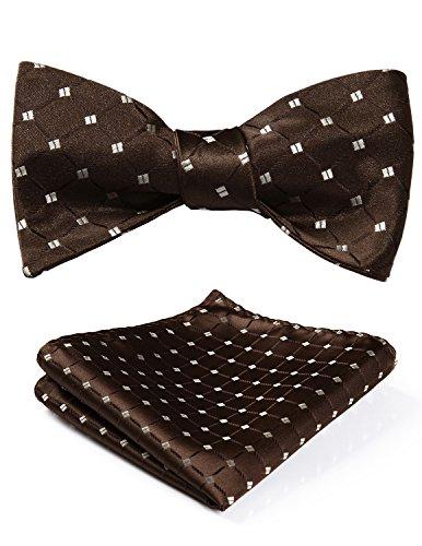 HISDERN Men's Check Jacquard Woven Wedding Party Self Bow Tie Set Brown/Beige