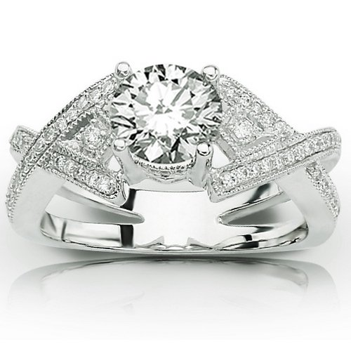 0.75 Carat 14K White Gold Twisting Bostonian Double Row Pave-set Round Diamond Ring with a 0.5 Carat Moissanite Center