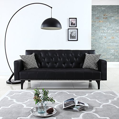 Modern Tufted Bonded Leather Sleeper Futon Sofa with Nailhead Trim in White, Black (Black) Bonded Leather Sofas