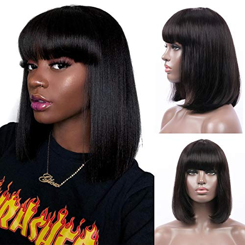 Bob Wig With Bangs Human Hair Machine Made Glueless None Lace Black Short Bob Wig for Women (12 inch)
