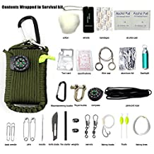 Gear Paracord 30pcs Survival Emergency Kits First Aid Kit & Emergency Perfect for Camping Hiking Food Finding Fishing includes Compass, Fire Starter, Eye Knife, Floats, Line, Carabiner (Army Green)