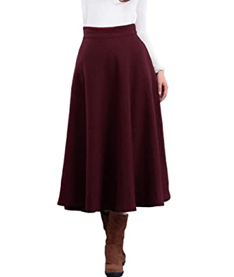 b150094c0c Femirah Women's Winter Long Wool Skirt Maxi A line Skirt: Amazon.co.uk:  Clothing