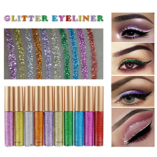 (Ownest 10 Colors Liquid Glitter Eyeliner, Metallic Shimmer Glitter Eyeshadow, Long Lasting Waterproof Shimmer Sparkling Eyeliner Eye Shadow-10pcs)