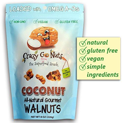 (Crazy Go Nuts Flavored Walnuts & Healthy Snacks: Gluten Free, Vegan, Non GMO, 8oz -)