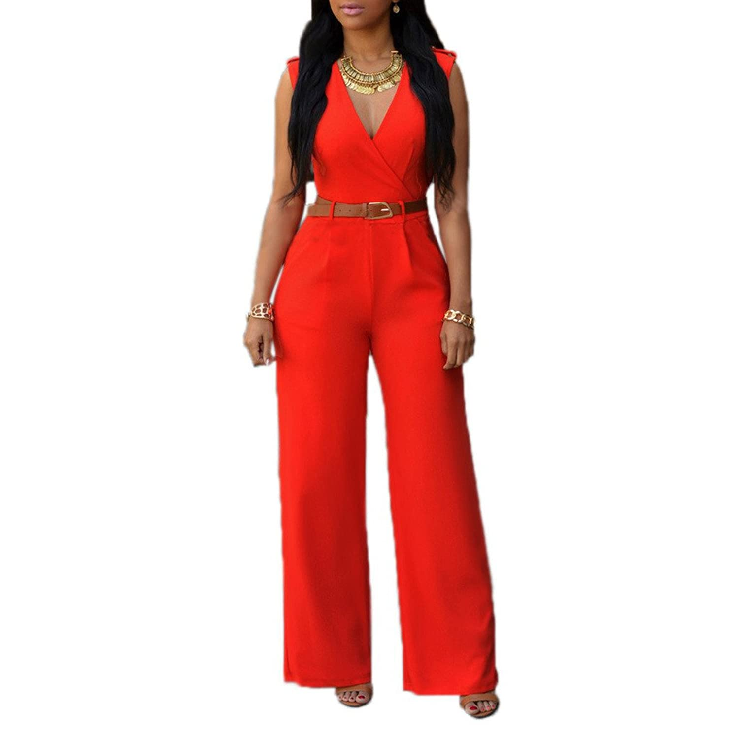 ShangYi Women's Elegant V Neck Long Loose Belted Rompers Jumpsuits