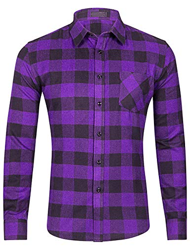 DOKKIA Men's Dress Long Sleeve Buffalo Plaid Gingham Business Work Flannel Shirts (Large, Purple Black Buffalo)