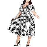 Hstore Women's Plus Size V-Neck Polka Dot Printed Belt Dress, Sexy V-Neck Short-Sleeved Lace-up Long Dress (L-XXXXXL)